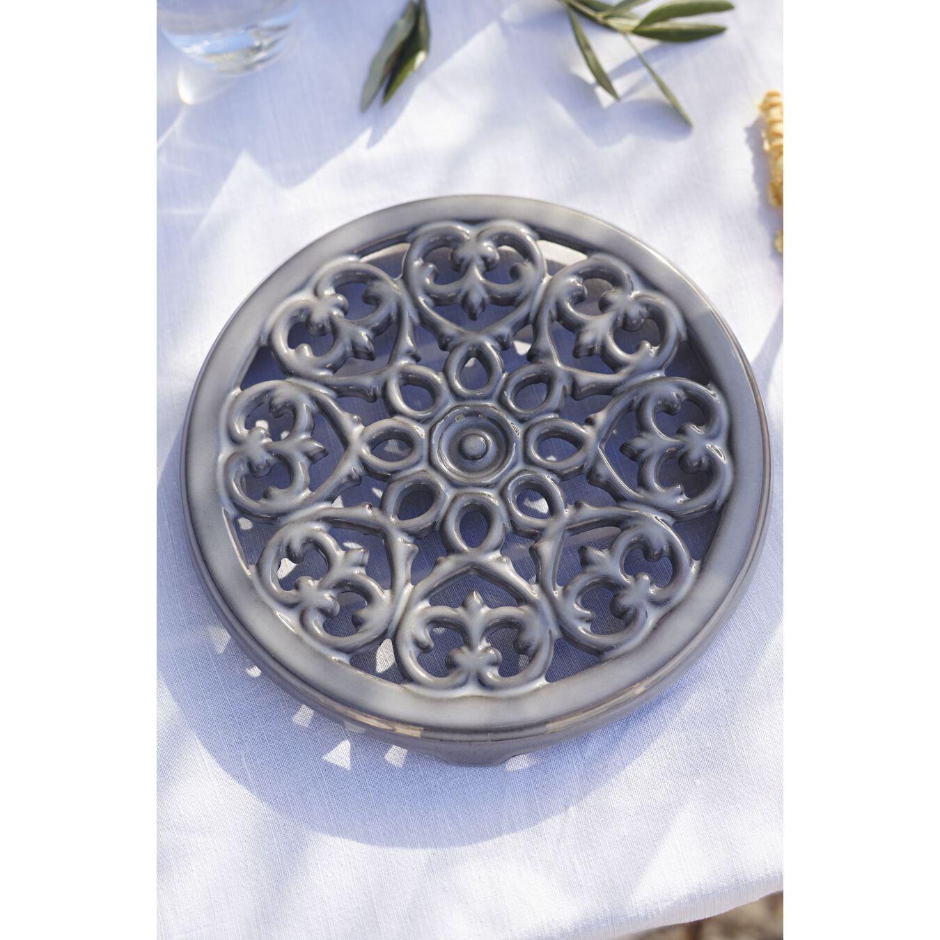 23 cm round cast iron Trivet, lily decal, graphite-grey,,large 2