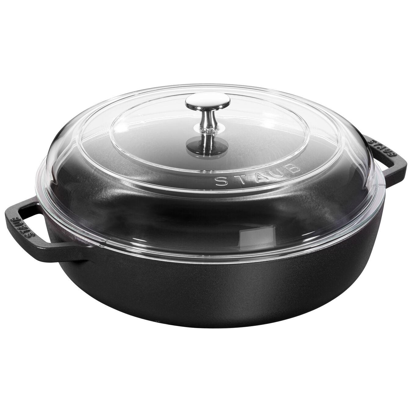 3.75 l Cast iron round Saute pan with glass lid, black,,large 1