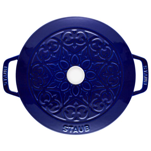 3.75-qt round French oven lily, Dark Blue,,large 3