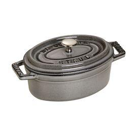 Staub Cast iron, 11-cm-/-4.25-inch oval Mini Cocotte, Graphite-Grey