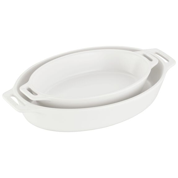 2-pc Oval Baking Dish Set, Matte White, , large