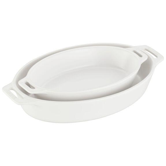 2-pc Oval Baking Dish Set, Matte White, , large
