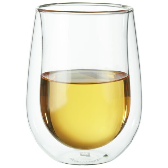 10 oz Double-Wall Stemless White Wine Glass 2-pc Set, , large