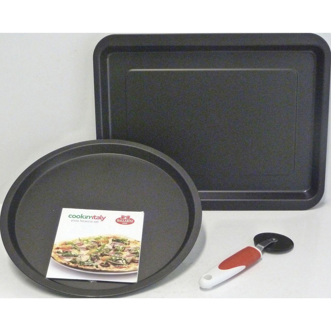 3-pc, Pizza Pan Set, black matte,,large 1