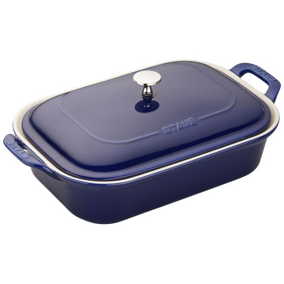 Ceramic Rectangular Covered Baking Dish, Dark Blue,,large