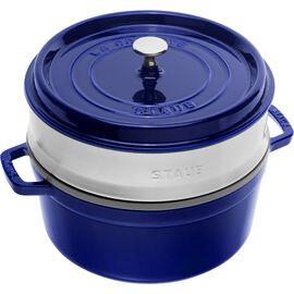 Staub La Cocotte, Cocotte avec panier vapeur 26 cm, Rond(e), Bleu intense, Fonte