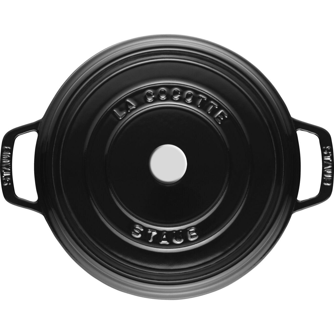 Cocotte en fonte 24 cm / 3,8 l, Rond, Noir brillant,,large 4