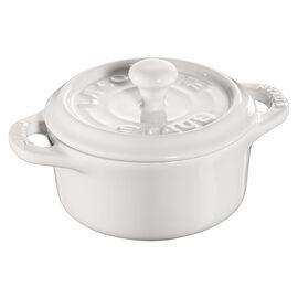 Staub Ceramique, Mini Cocotte 10 cm, redondo, Branco puro, Cerâmica