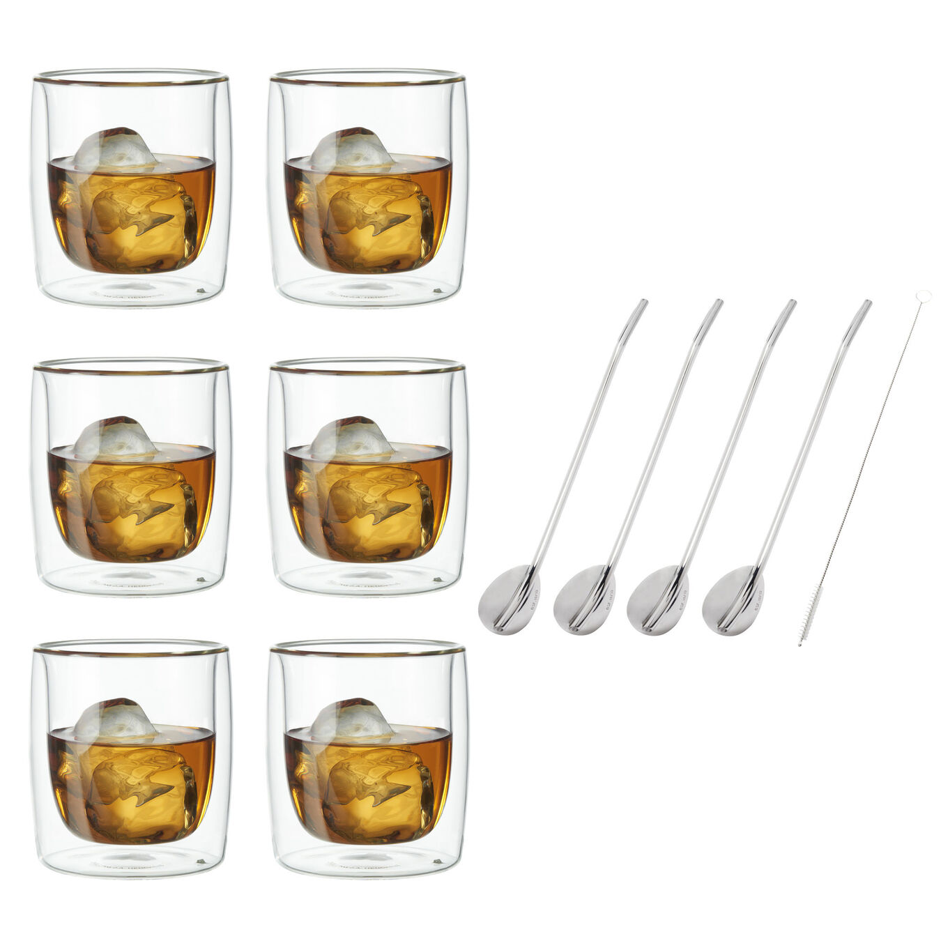 2-pc Whisky glass set, Double wall glas ,,large 2
