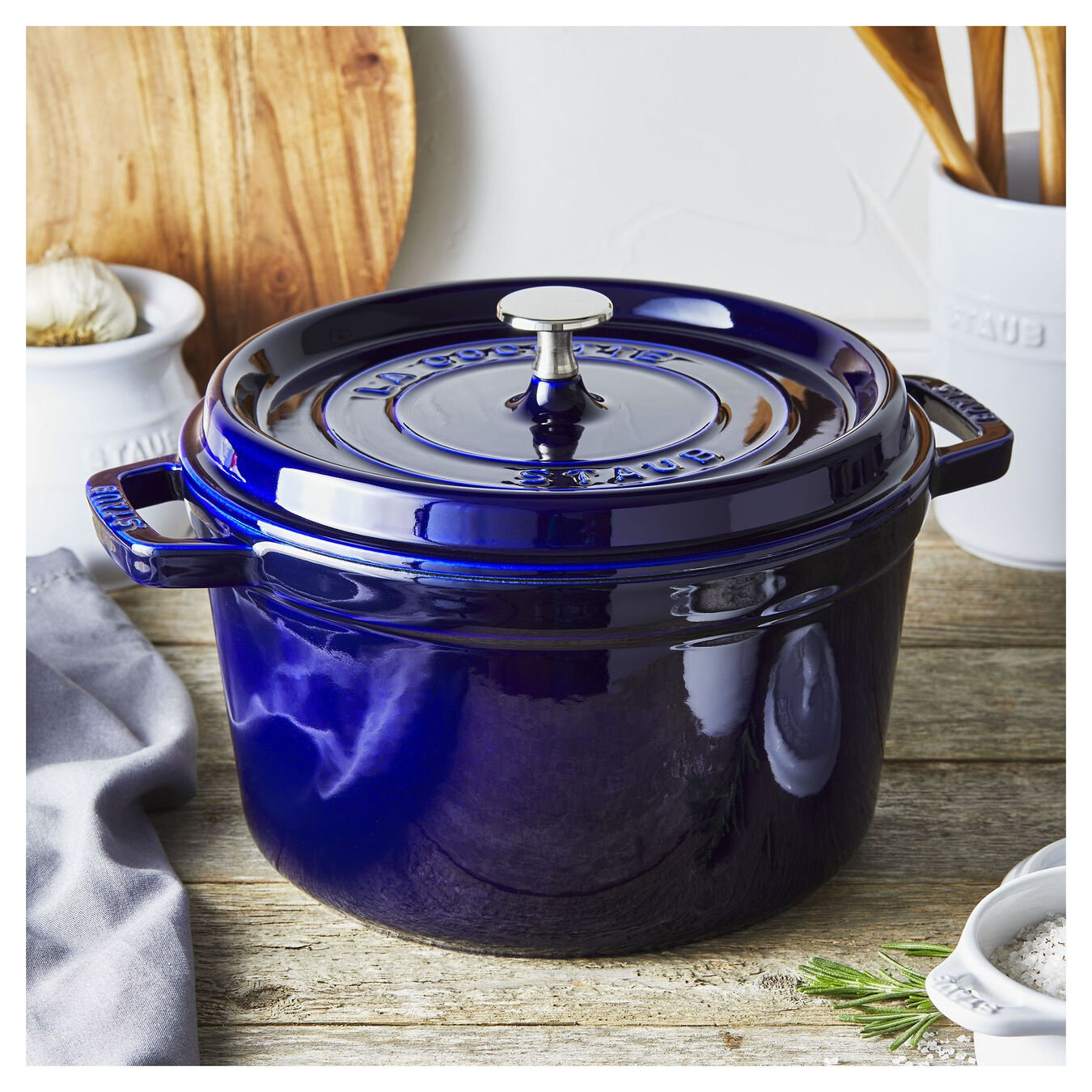 5 qt, round, Tall Cocotte, dark blue,,large 2