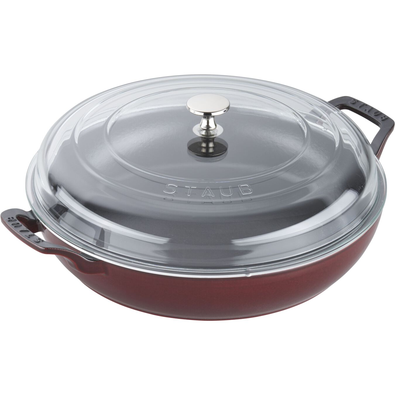 12-inch, Braiser with Glass Lid, grenadine,,large 2