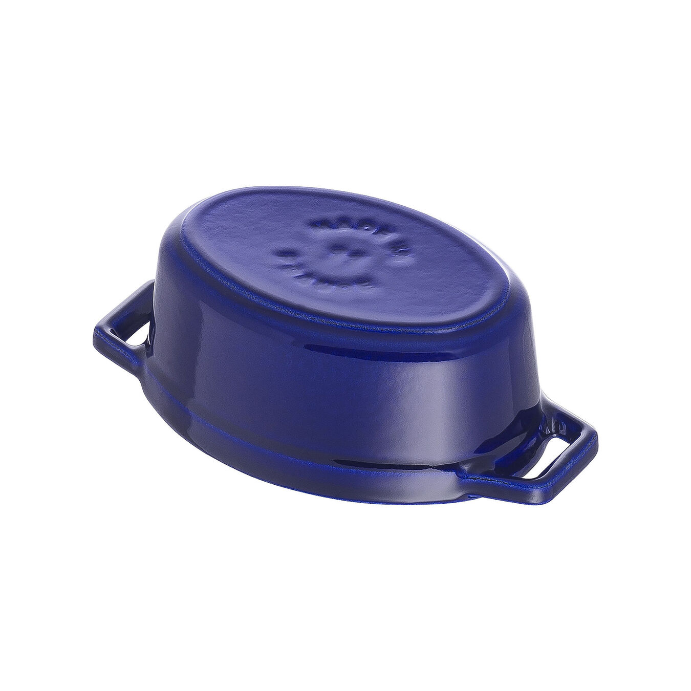 250 ml Cast iron oval Mini Cocotte, Dark-Blue,,large 4