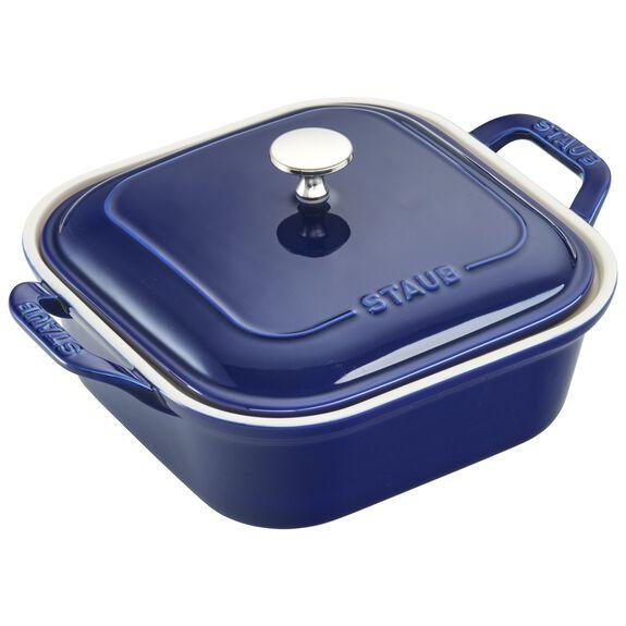 Ceramic Square Covered Baking Dish, Dark Blue,,large 3