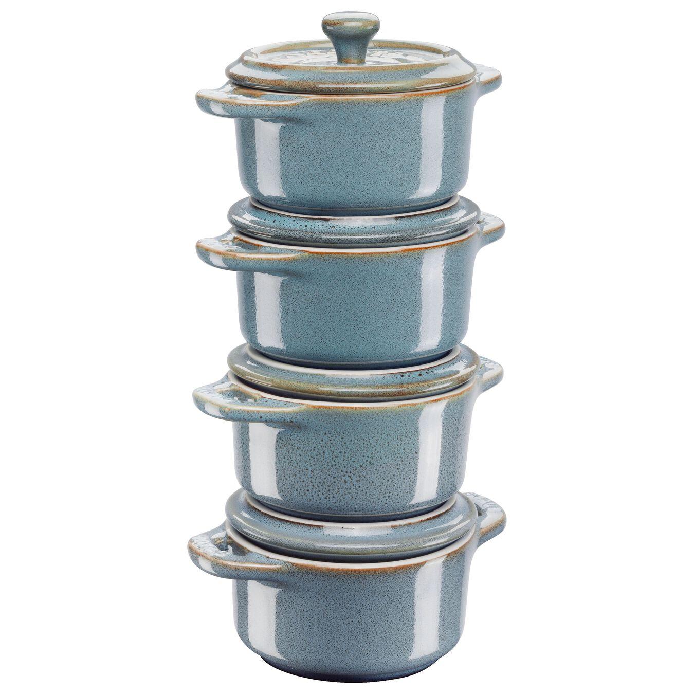 Ensemble de cocottes 4-pcs, Rond(e), Turquoise antique, Céramique,,large 1