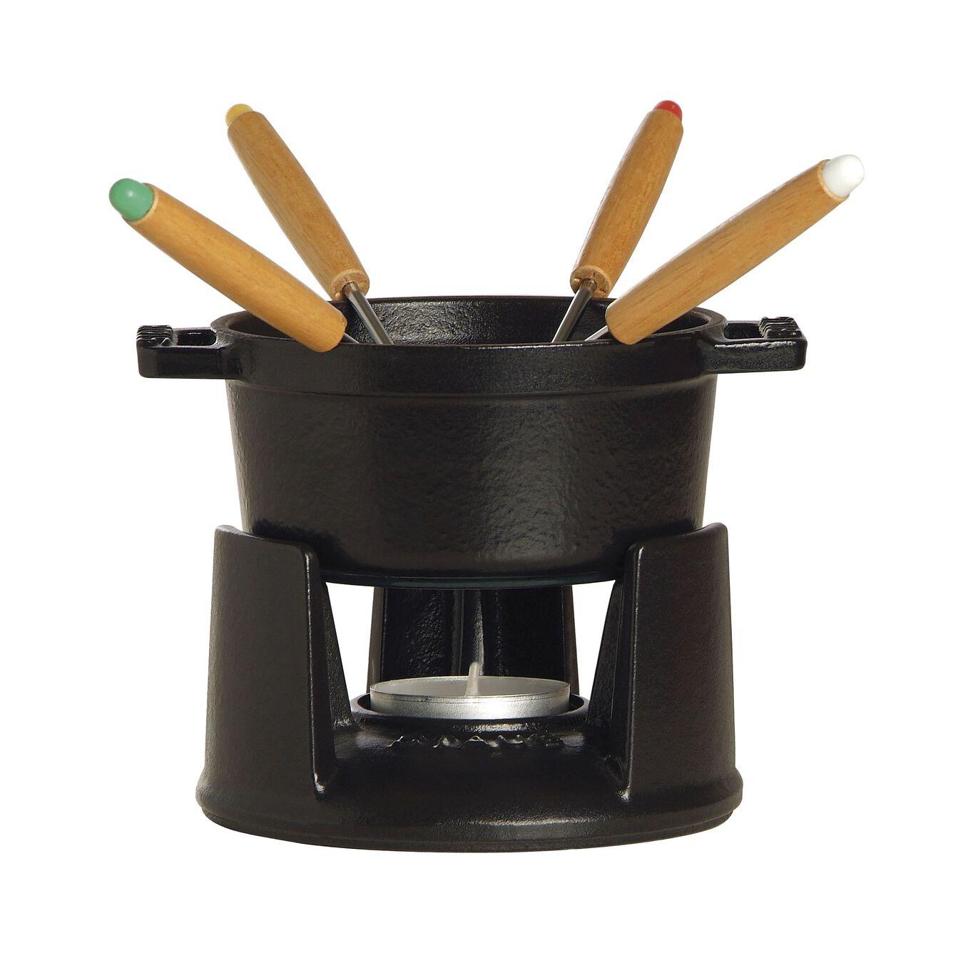 Service à fondue 10 cm, Noir, Fonte,,large 1