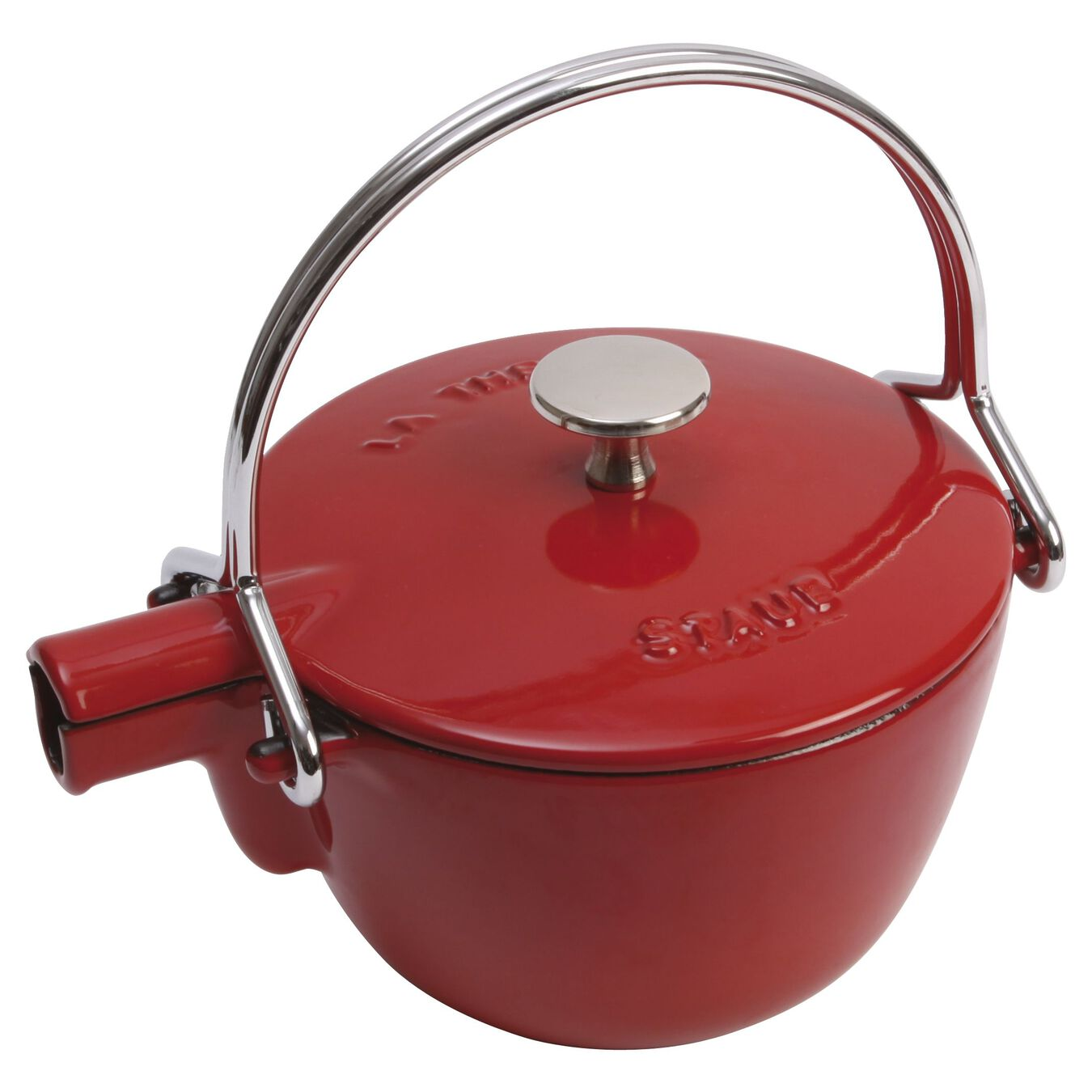 1.1 l Cast iron Tea pot, cherry,,large 1