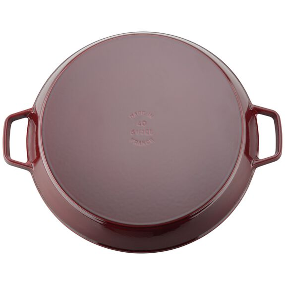 38-cm-/-15.75-inch round Enamel Paella pan, Grenadine-Red,,large 3