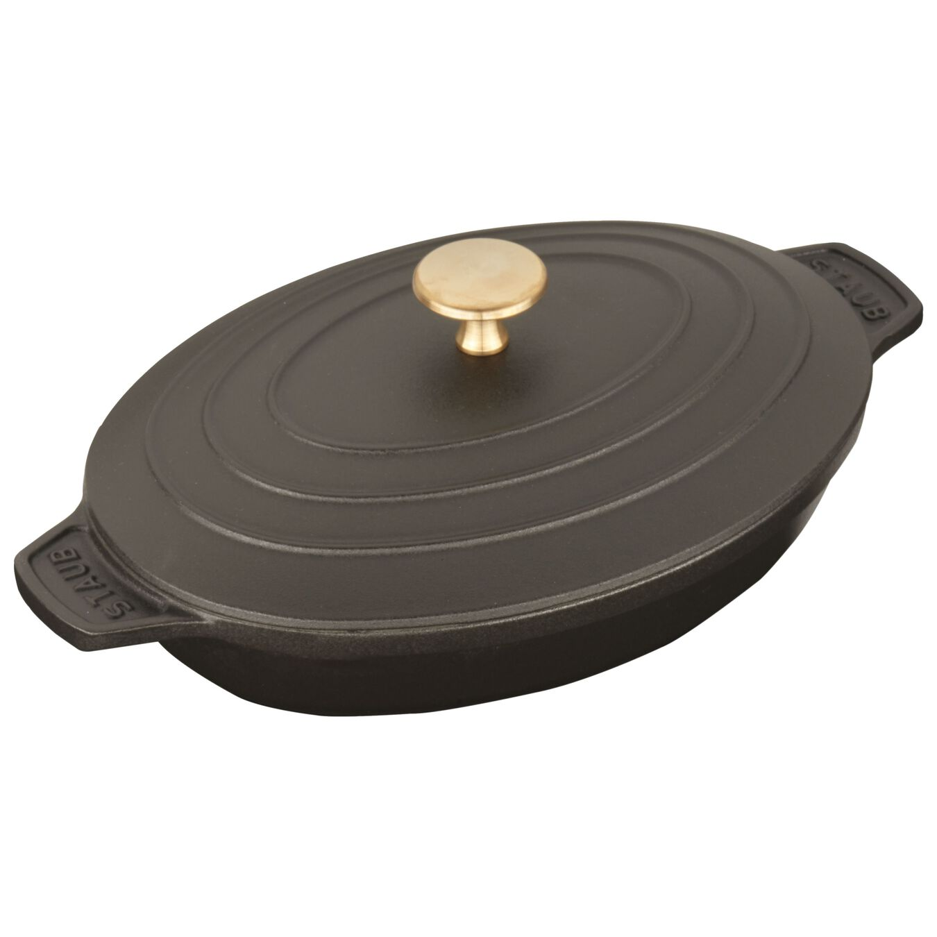 9-inch x 6.6-inch Oval Covered Baking Dish - Matte Black,,large 3