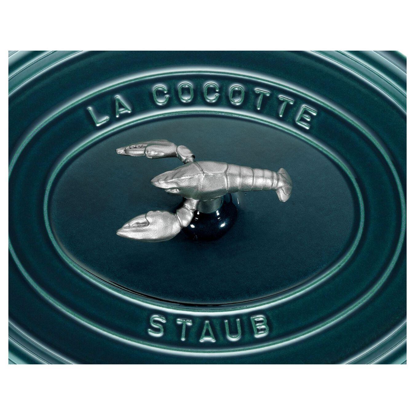 Cocotte bouton homard 31 cm, Ovale, Blue La-Mer, Fonte,,large 7