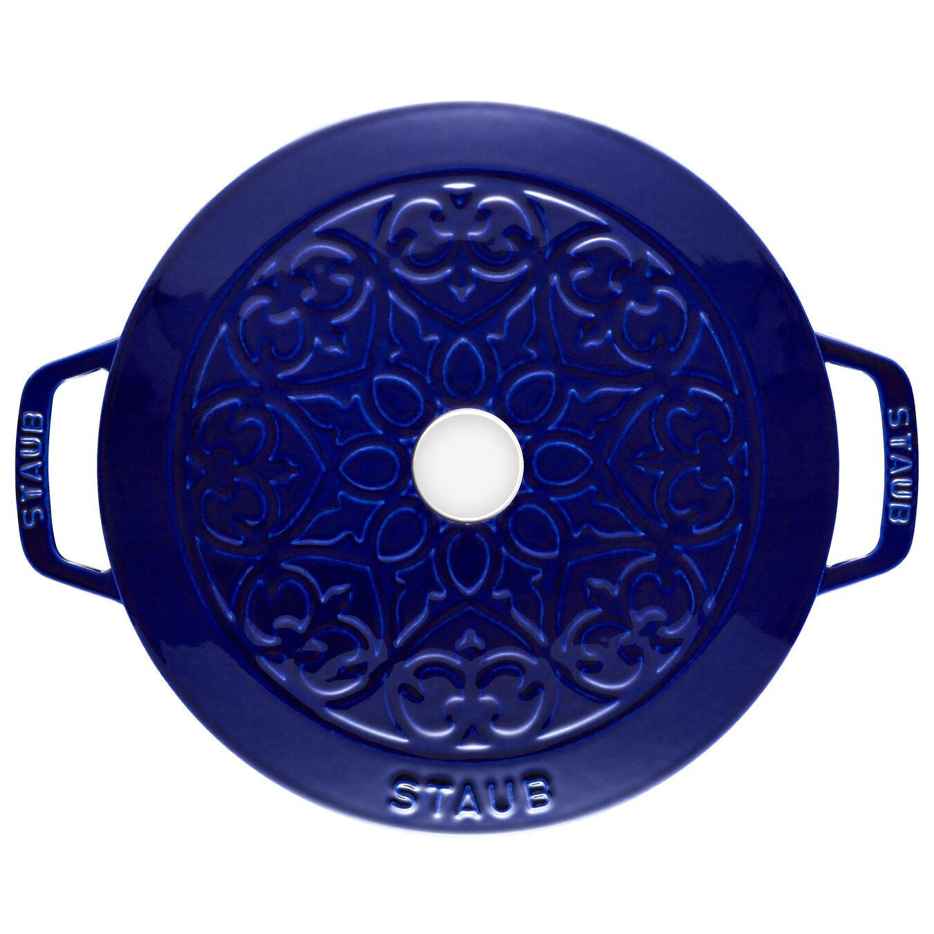 3.6 l round French Oven, lily decal, dark-blue,,large 3