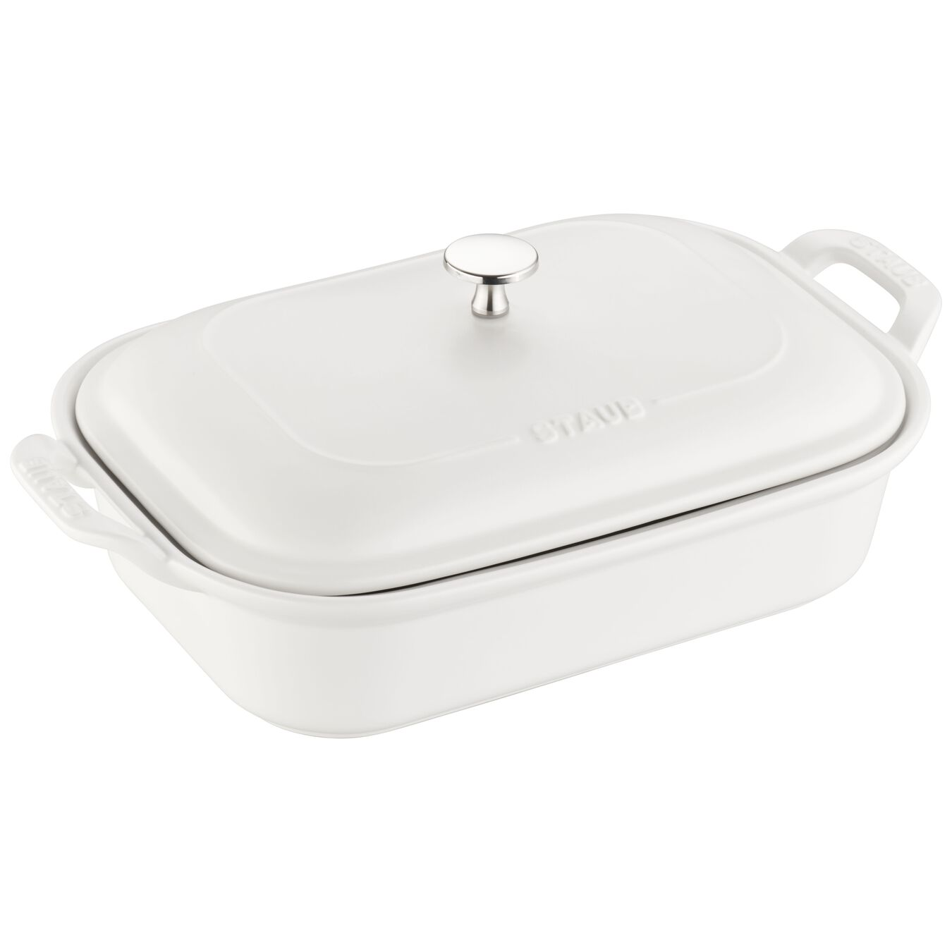 12-inch x 8-inch Rectangular Covered Baking Dish - Matte White,,large 1
