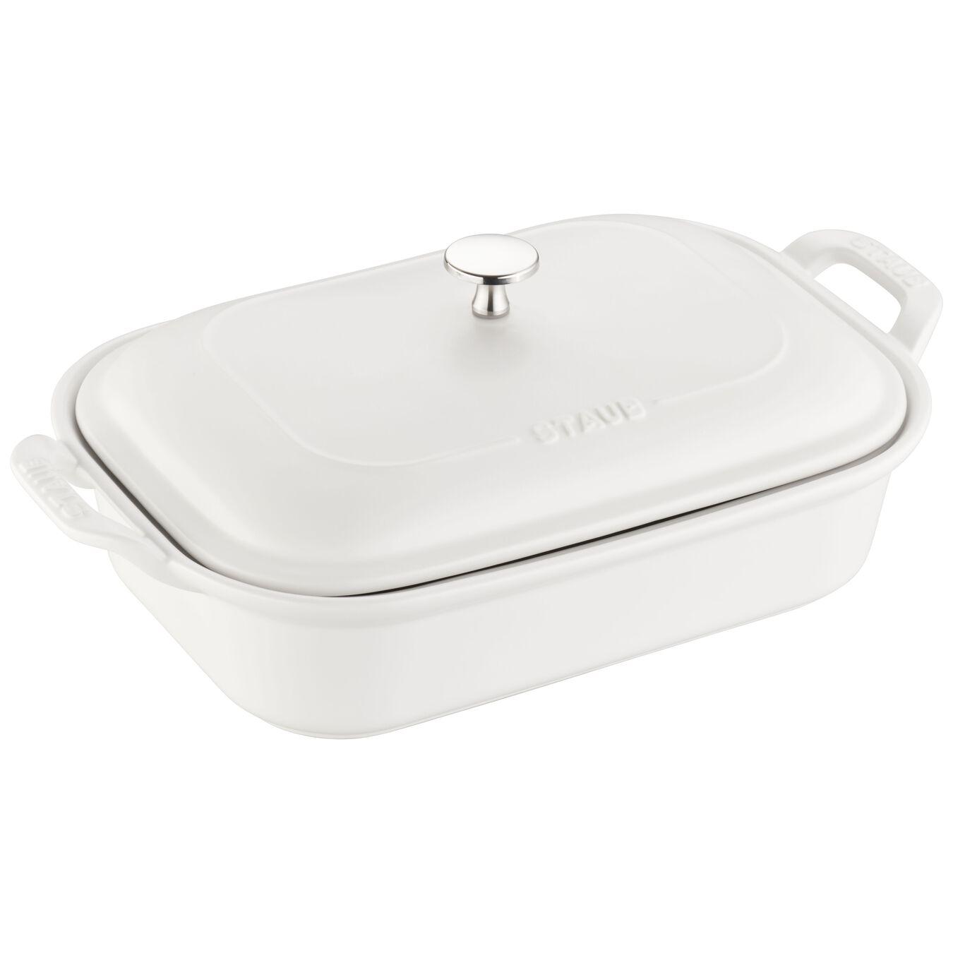 Ceramic rectangular Special shape bakeware, Matte-White,,large 1