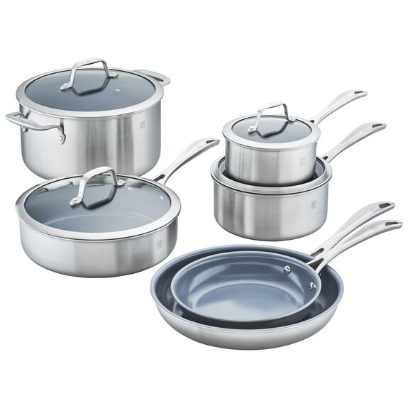 3-ply 10-pc Stainless Steel Ceramic Nonstick Cookware Set,,large