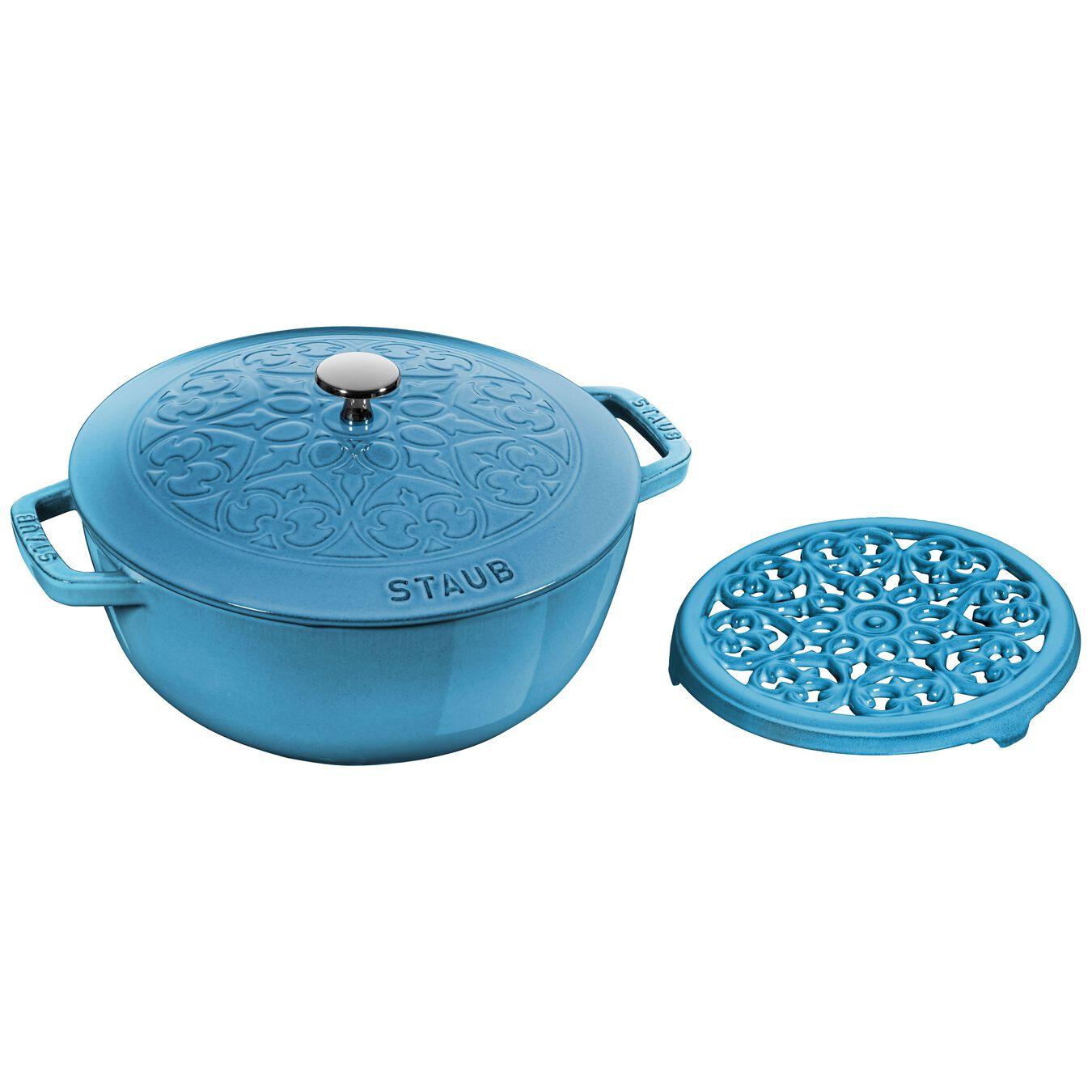 Pot set, lily decal, 2 Piece   round   cast iron   ice-blue,,large 1