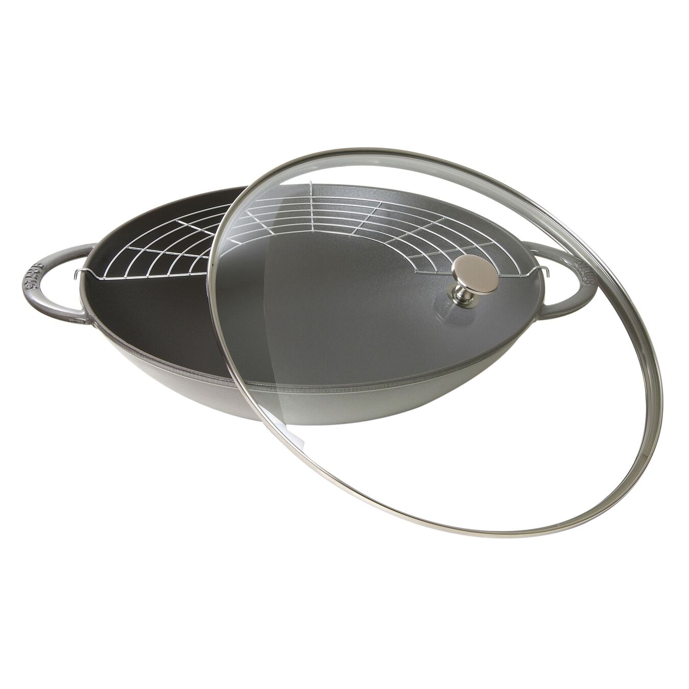 37 cm Cast iron Wok with glass lid, Graphite-Grey,,large 1