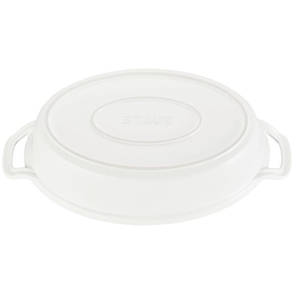 Ceramic Oval Covered Baking Dish, Matte White,,large 2