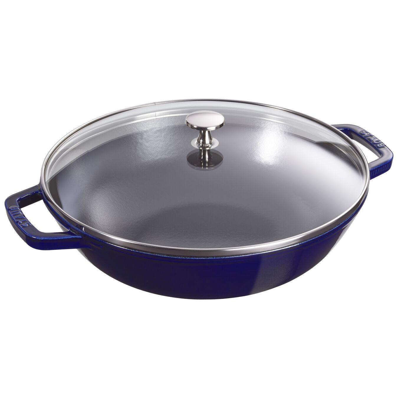4.5 qt, Wok with glass lid, dark blue,,large 1