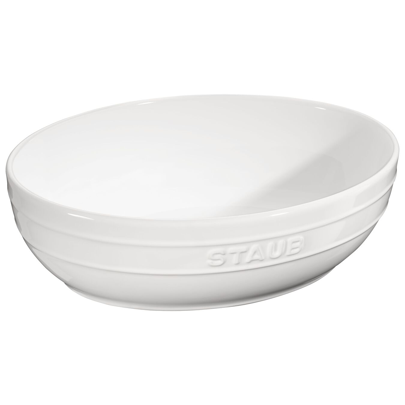 2 Piece Ceramic oval Bowl set, Pure-White,,large 3