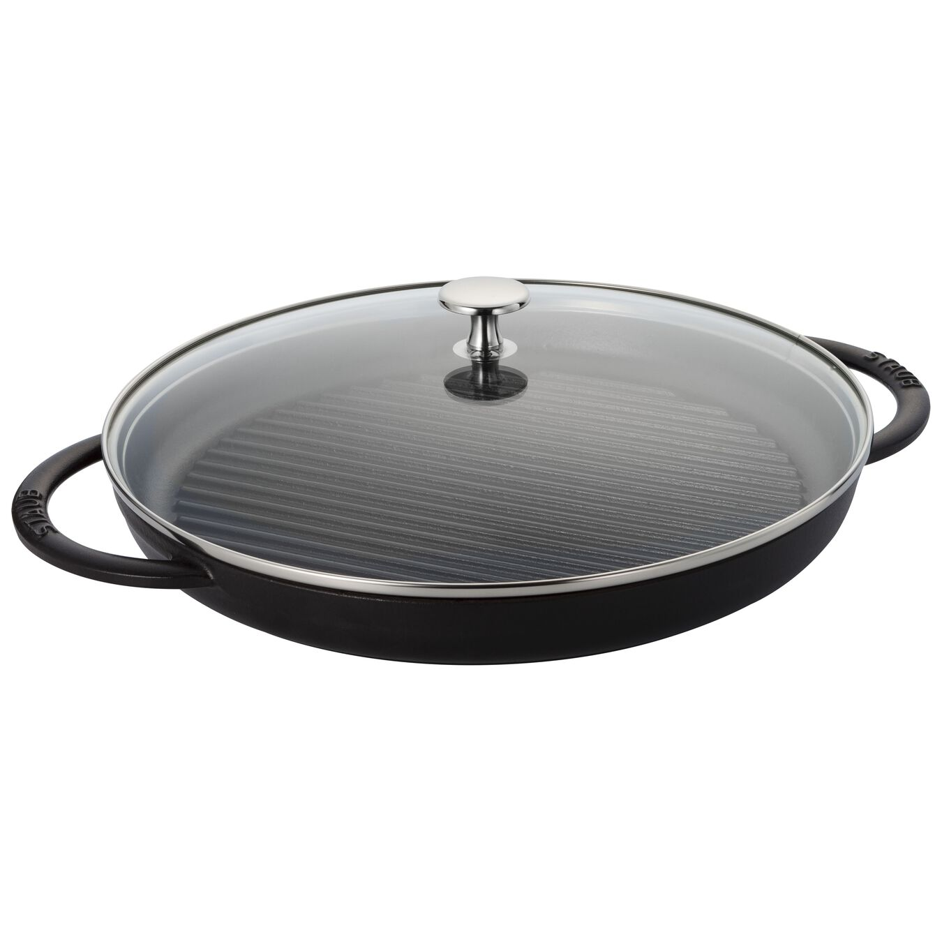 Staub Cast Iron Round Grill Pan With Glass Lid Black Matte Official Zwilling Shop