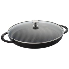 Staub Cast Iron, round, Grill pan with glass lid, black matte