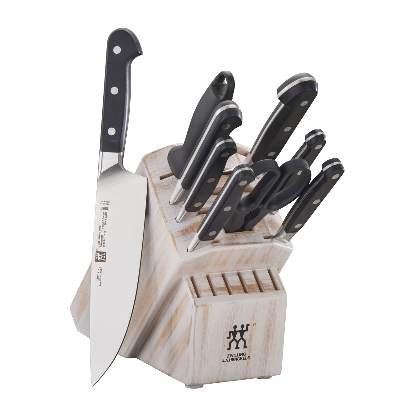10-pc, Knife block set, rustic white,,large 1