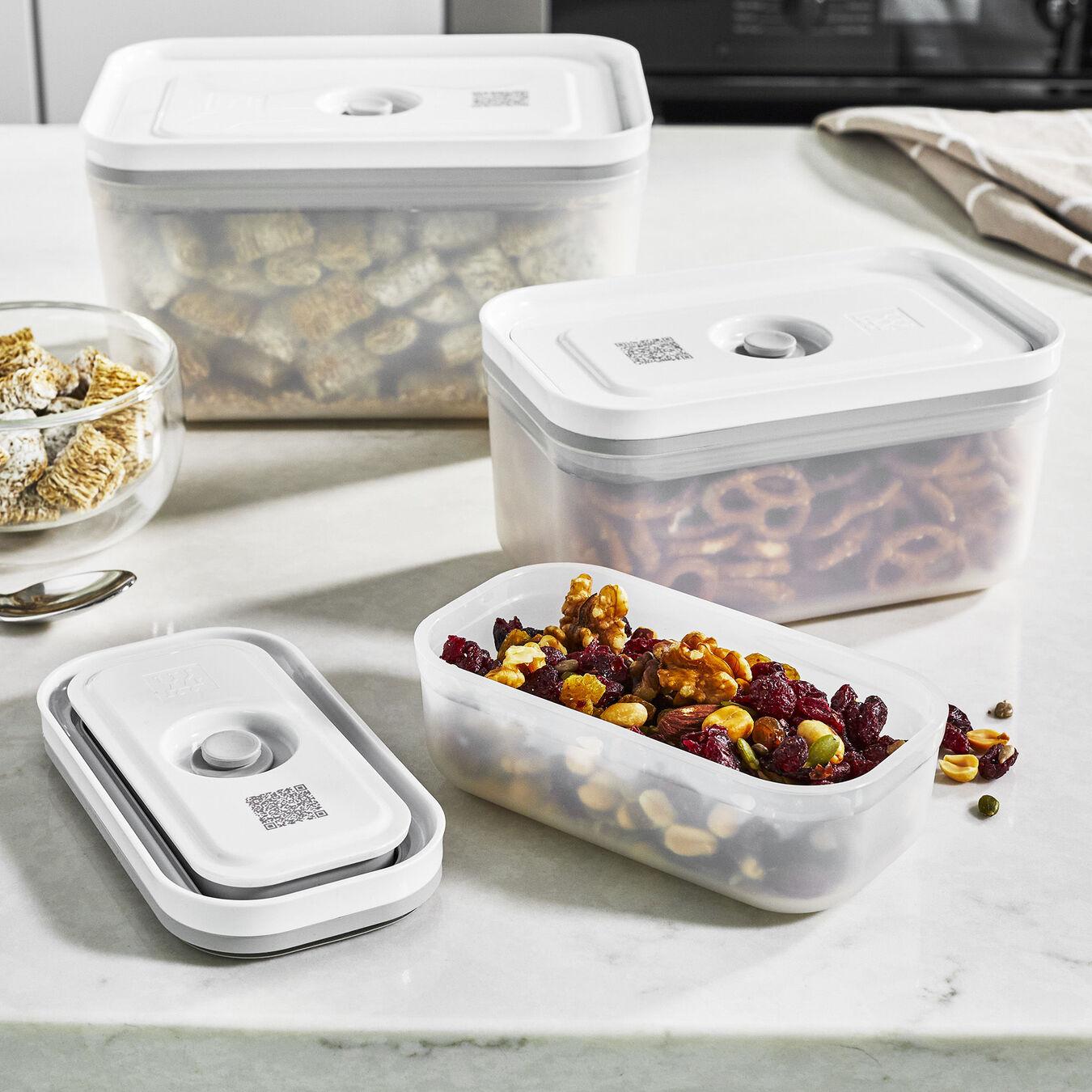 Vacuum Container Set, small/medium/large / 3-pc, Plastic, White,,large 4