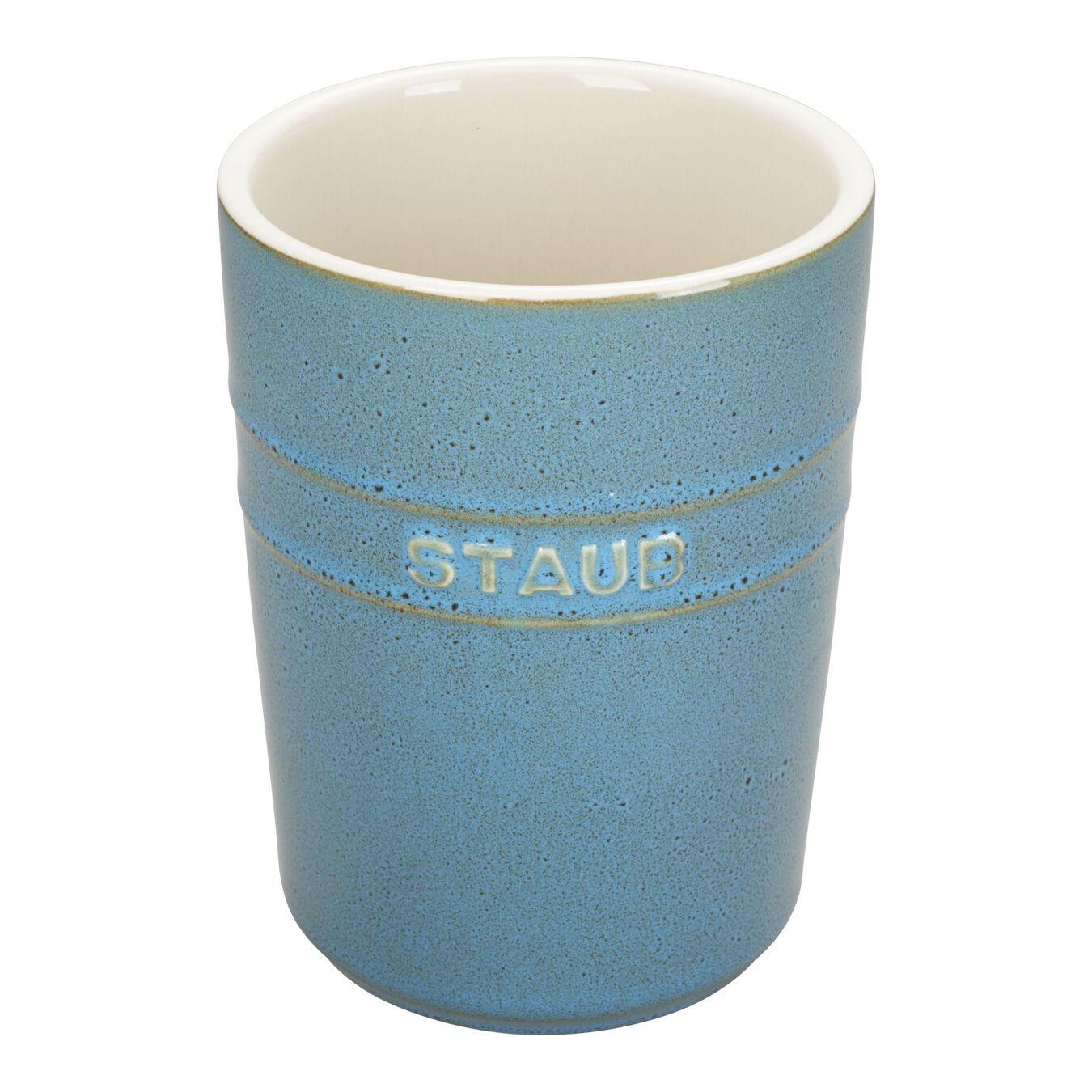 Utensil holder, rustic turquoise,,large 1
