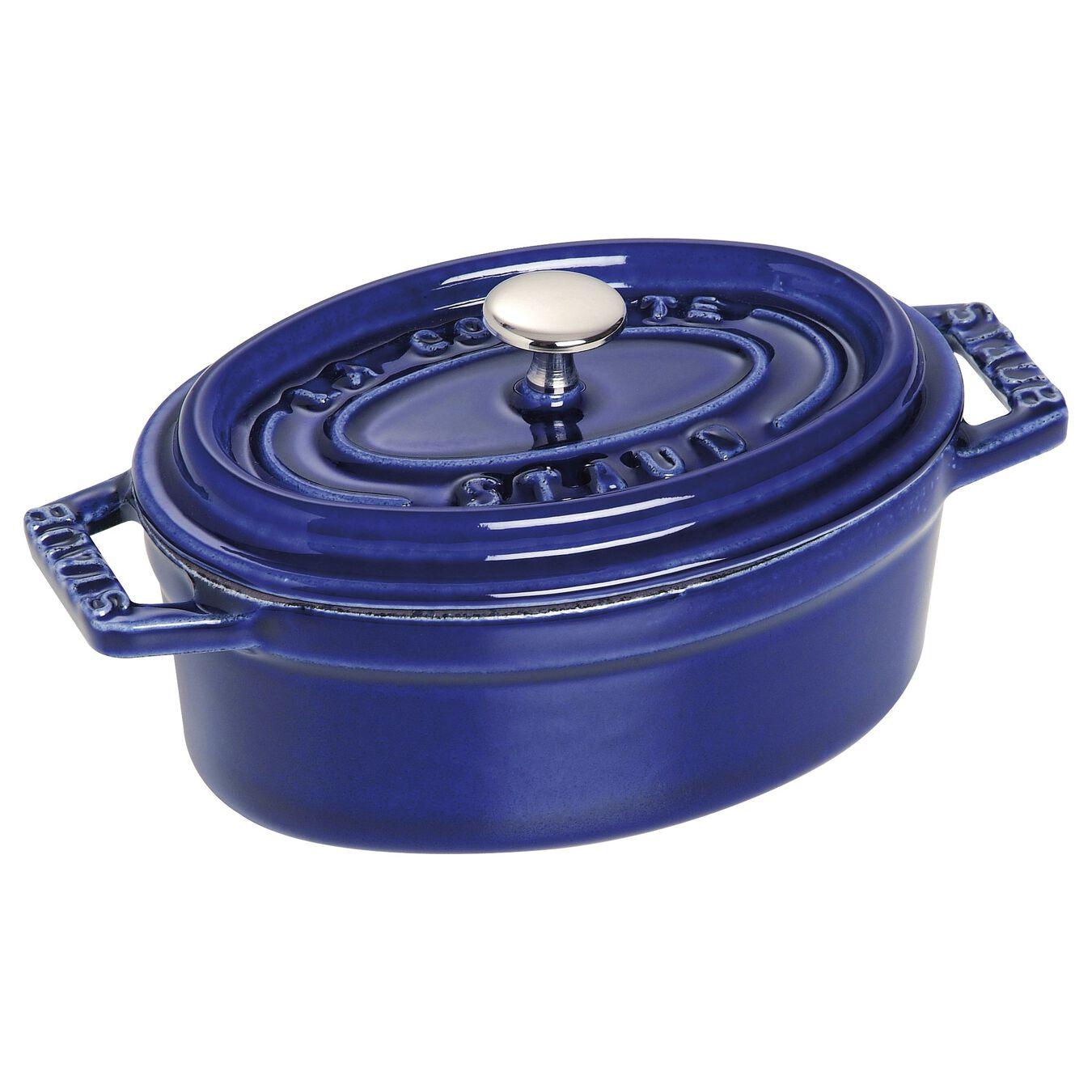 250 ml Cast iron oval Mini Cocotte, Dark-Blue,,large 2