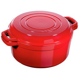 Staub Cast iron, 10-inch round Braise + Grill, Cherry - Visual Imperfections