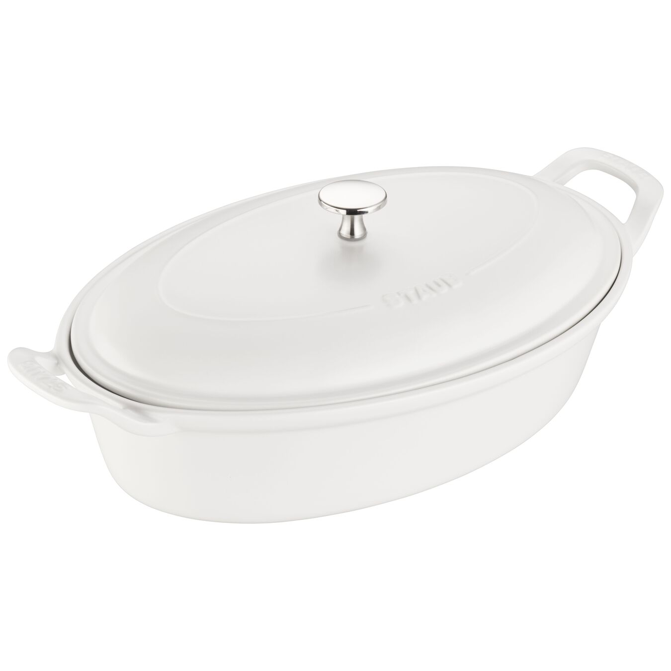 14-inch Oval Covered Baking Dish - Matte White,,large 1