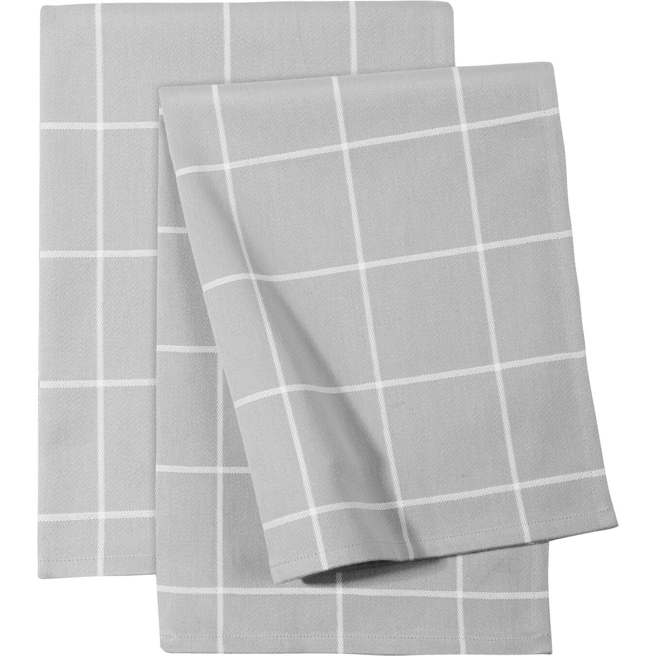 2 Piece Cotton Kitchen towel set checkered, grey,,large 1