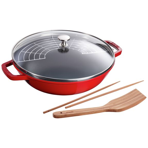 12-inch Enamel Wok with glass lid, Cherry,,large