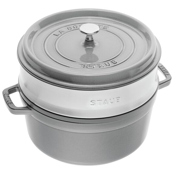 4-qt round Cocotte with steamer, Graphite Grey,,large