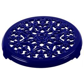 Staub Cast Iron, 9-inch Round Lilly Trivet - Dark Blue