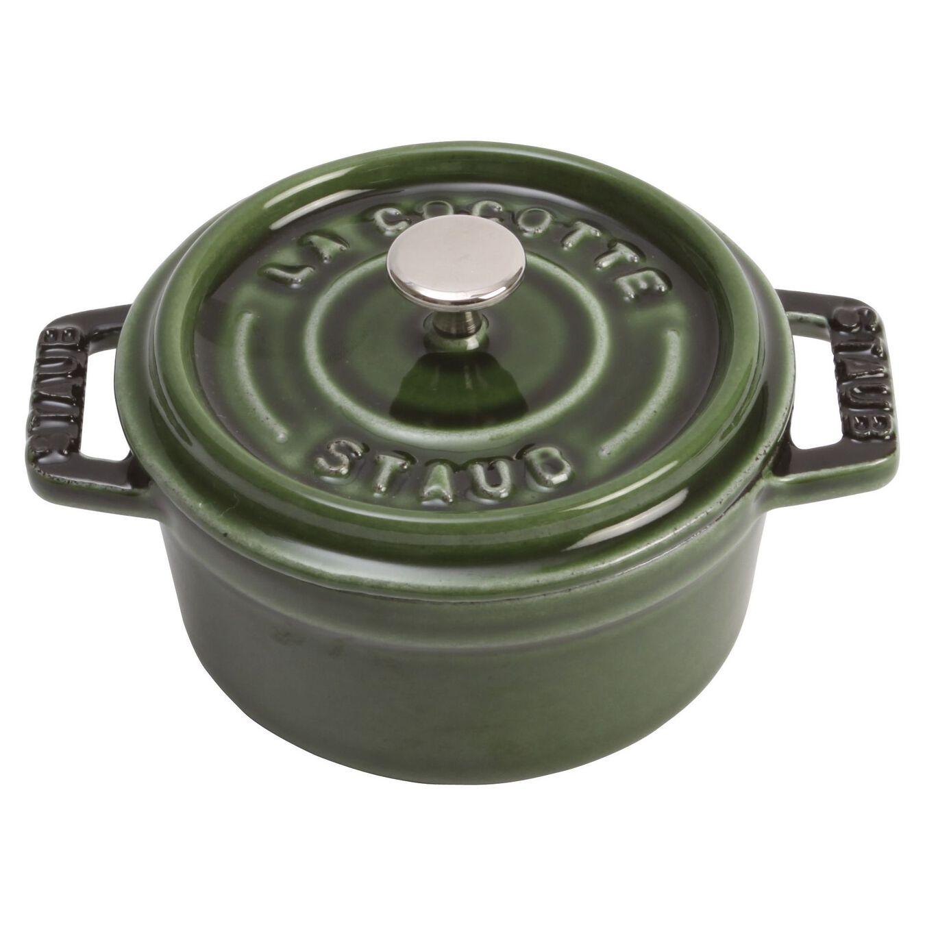 Mini Cocotte 10 cm, rund, Basilikum-Grün, Gusseisen,,large 1
