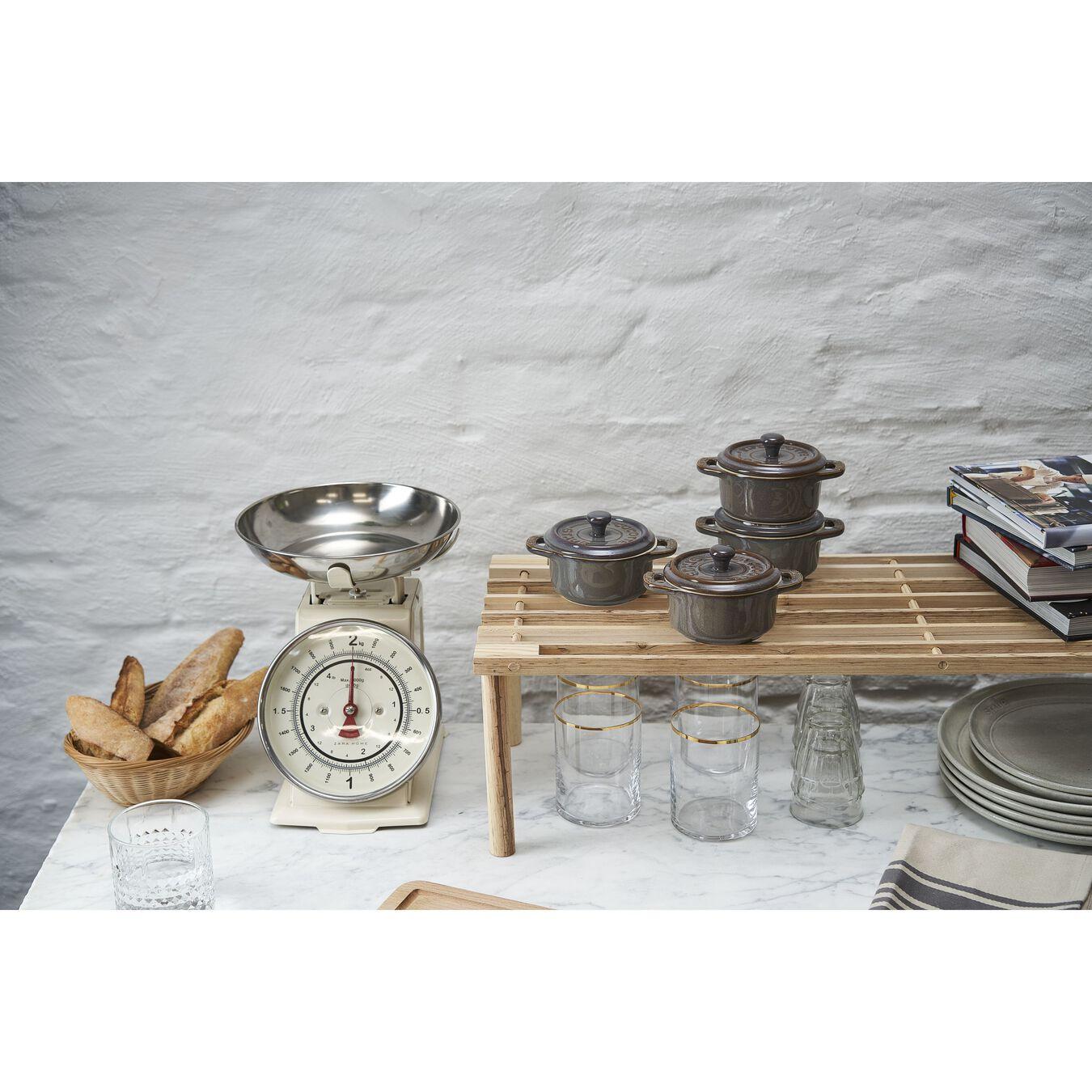 Cocotte Set 4-tlg, rund, Antik-Grau, Keramik,,large 2