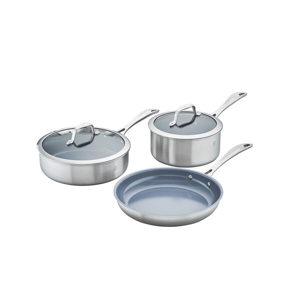 3-ply 5-pc Stainless Steel Ceramic Nonstick Cookware Set,,large