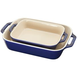 Staub Ceramics, 2-pc Rectangular Baking Dish Set, Dark Blue