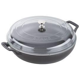 Staub Cast Iron - Braisers/ Sauté Pans, 12-inch, Braiser with Glass Lid, black matte