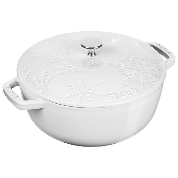 9.5-inch round French oven, White,,large